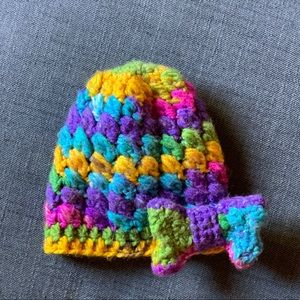 Other - Girls Hand Crocheted Hat w/Cute Bow Accent